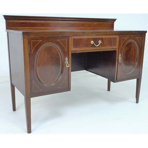 254 - A small Victorian Gillow & Co mahogany and inlaid sideboard, with upstand, seven drawers and gilt me...
