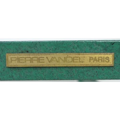 208 - A Pierre Vandel Paris matte green aluminium framed coffee table, circa 1970, with rectangular glass ...