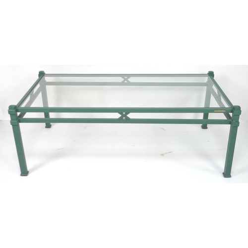 208 - A Pierre Vandel Paris matte green aluminium framed coffee table, circa 1970, with rectangular glass ...