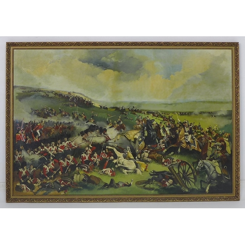 158 - David Woodland (British, 20th century): The Battle of Waterloo, signed, oil on canvas, framed, 161 b...