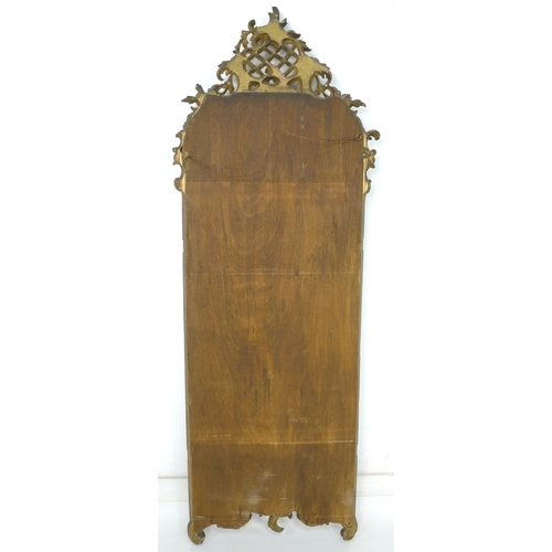 238 - A 19th century giltwood pier mirror, with pierced lattice, C scroll and foliate carved pediment, mou...