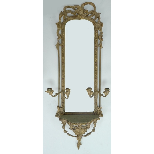 266 - A pair of 19th century and later gilt framed girandole mirrors, with moulded fruit and leaf frames a...