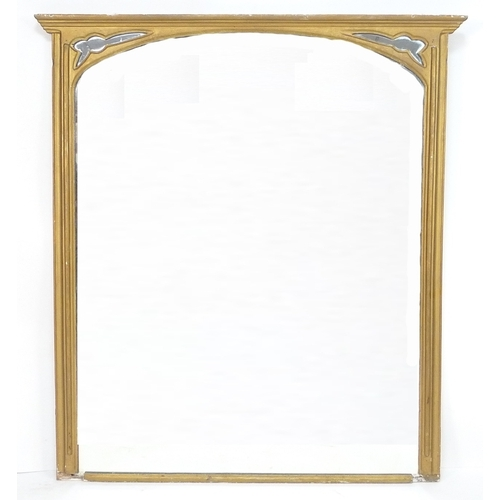 210 - A Victorian gilt framed overmantel mirror with later rectangular plate, 112.5 by 5 by 125cm high....
