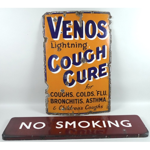194 - A Venos Lightening Cough Cure vintage enamel sign, the orange ground with dark blue, white and black...