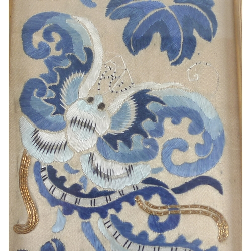 146 - A group of Chinese sleeve bands, 19th century, comprising a pair with auspicious objects on blue gro...