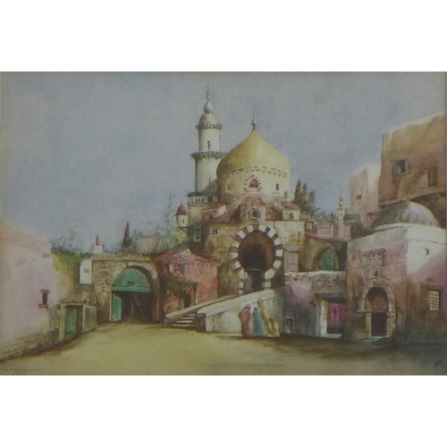 166A - Allen F. Wheldon (British, early 20th century): a study of a mosque and courtyard, possible Basra in...
