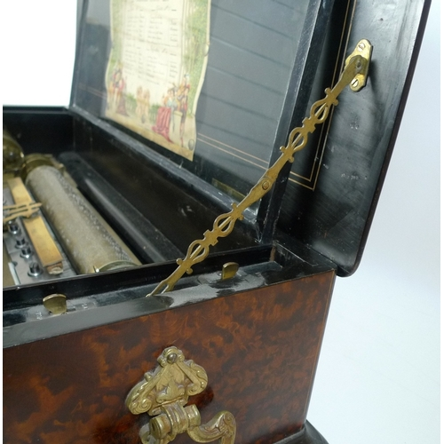 104 - A Swiss Mandoline-Piccolo music box, late 19th century, in a walnut veneered and marquetry inlaid ca...