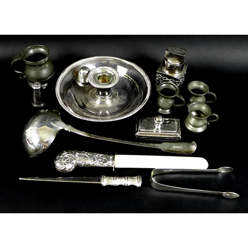 30 - A collection of George III and later silver and silver plated items including a large fiddle pattern...