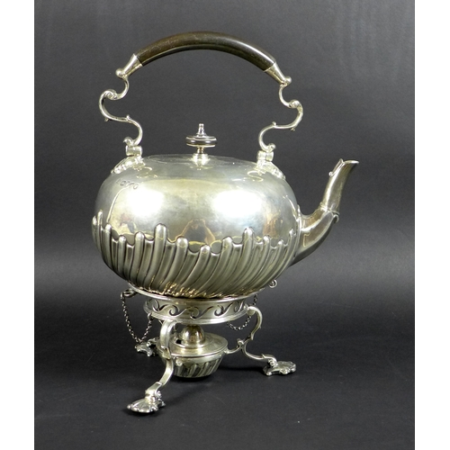 76 - A Victorian silver spirit kettle on stand, the compressed globular body with wrythen lobed detailing...