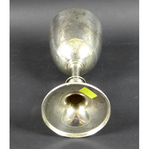 60 - A Victorian silver goblet with plain bowl, knopped stem and beaded foot rim, London 1896, indistinct...