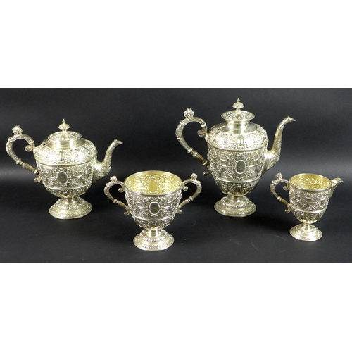 80 - A particularly fine High Victorian silver tea set, in the late Renaissance/Mannerist style of Cellin...
