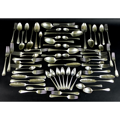 77 - A large collection of Georgian and later silver flatware, comprising two basting spoons, London 1798...