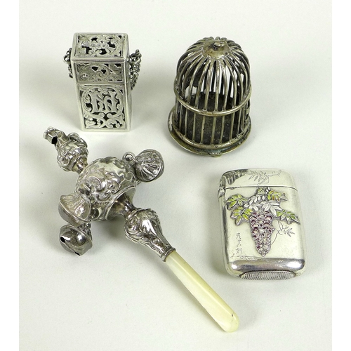 12 - A group of silver and plated vertu, comprising a silver and mother of pearl teething rattle, Birming...