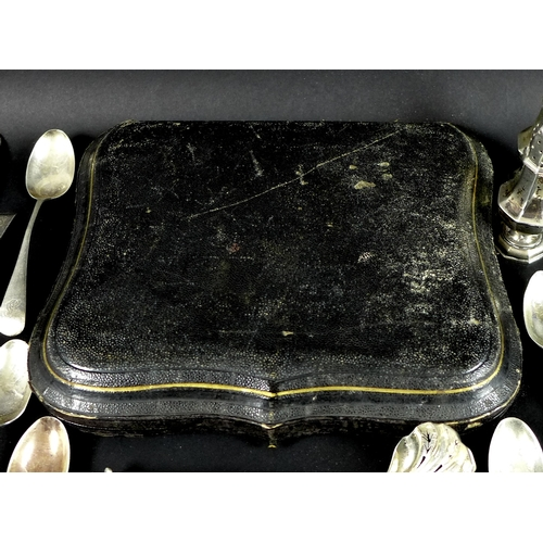 67 - A group of mostly Victorian and Edwardian silver, comprising a Victorian cased set of twelve tea spo...