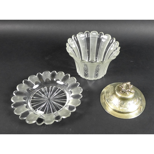 58 - A Victorian silver and cut glass bon bon dish and stand, the silver domed circular lid with cast flo...