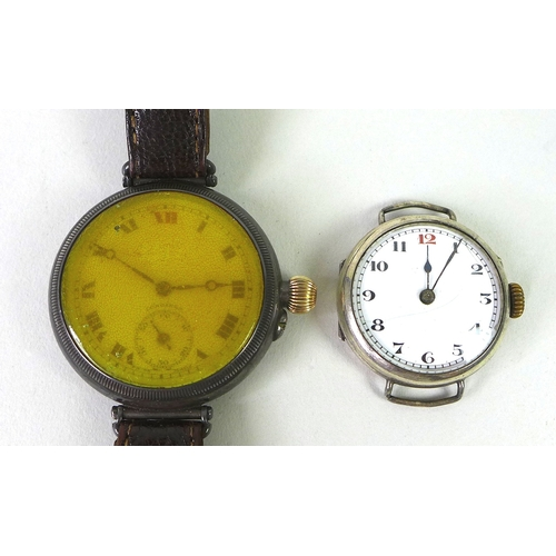 148 - An early 20th century Longines silver wristwatch,the white enamel dial with Roman numerals and subsi...