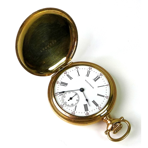 114 - A gold plated Waltham USA full hunter pocket watch, keyless wind, engraved case, white enamel dial w...