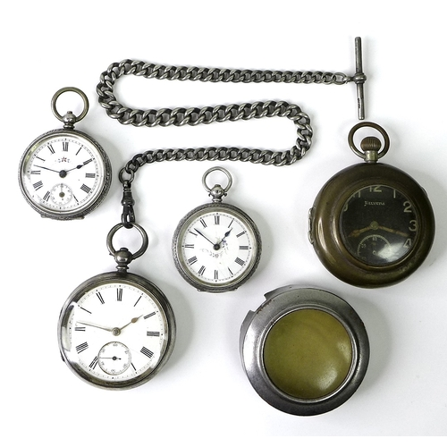 23 - Three silver pocket watches, late 19th / early 20th century, comprising two similar Continental silv...