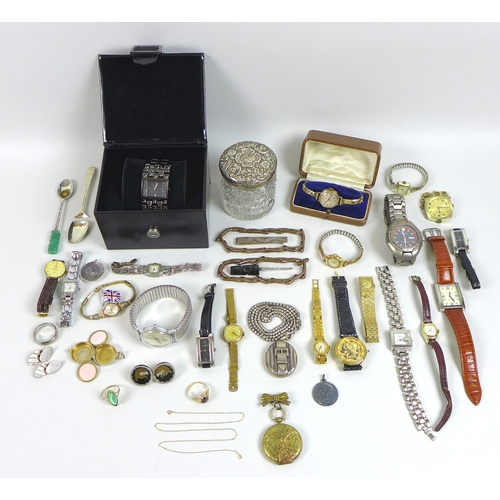 118 - A large collection of jewellery and watches, including two 9ct gold rings set with stones and a 9ct ...