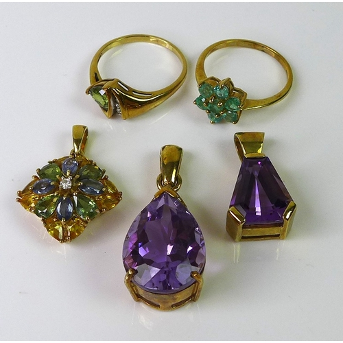 117 - A group of 9ct gold jewellery, comprising an amethyst and diamond pendant, the large pear cut amethy...