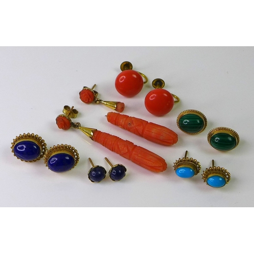 130 - Six pairs of 1920s earrings, including a pair of rose coral carved drops , a/f, coral studs with cli...