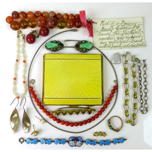 141 - A collection of vintage jewellery, including a coral bead bracelet, a blue enamelled Danish silver b...