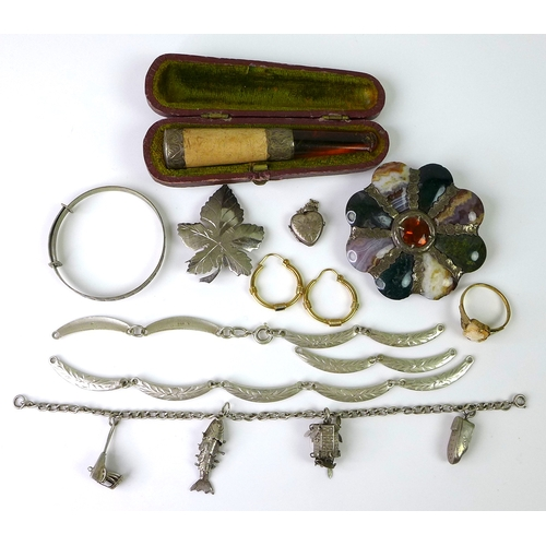 115 - A group of jewellery and vertu, comprising a meerschaum, amber and silver mounted cheroot holder, Ch...