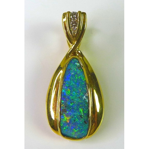 248 - An 18ct gold pendant set with black opal, possibly Lightning Ridge, approx 3.55cts, three diamond br...