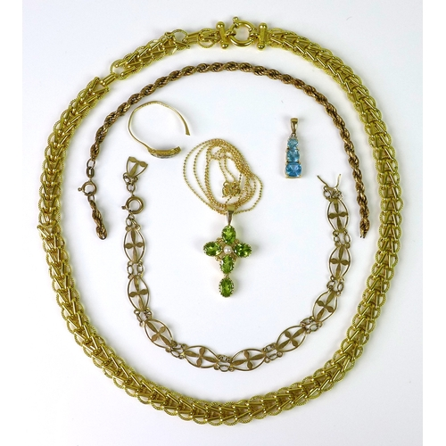 150 - A collection of 9ct gold jewellery, comprising a peridot and pearl cross with chain, an aquamarine t...