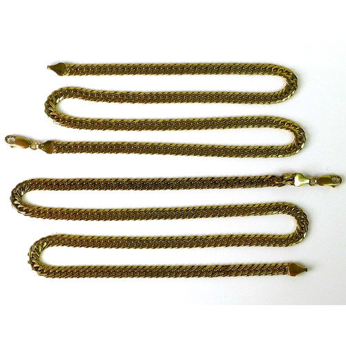 237 - A pair of 9ct gold chains of flattened curb link form, both hallmarked and marked 375, one 46cm, the...