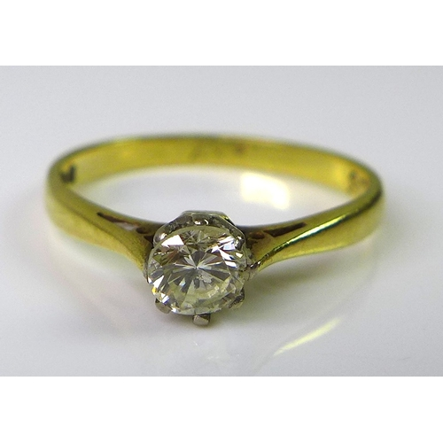 212 - An 18ct gold and diamond solitaire ring, having a single diamond of approximately 0.25ct, size N, 2....