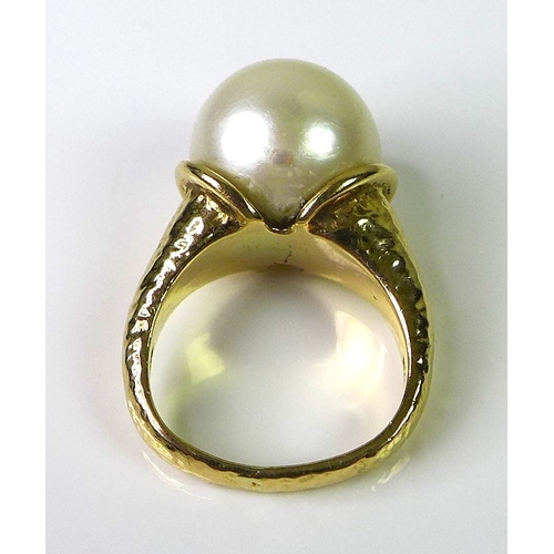 238 - A 14ct gold and pearl designer ring, marked Bagge, likely for Eric Bagge (1890-1978), of modernist o...