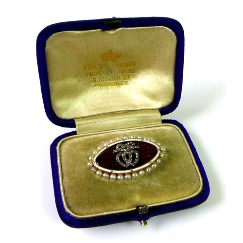 236 - A Victorian or Edwardian 15ct gold sweetheart brooch, the marquis shaped body set with diamond chips...