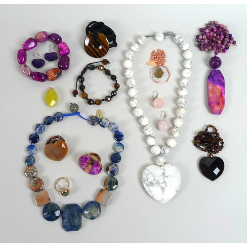140 - A collection of Lola Rose carved semi-precious jewellery, including a purple dyed fossil jasper neck...