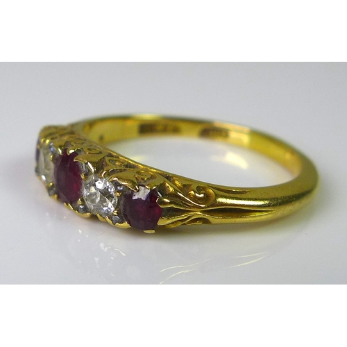 208 - A Victorian 18ct gold five stone ring alternately set with diamonds and rubies, approx 0.3cts total ...
