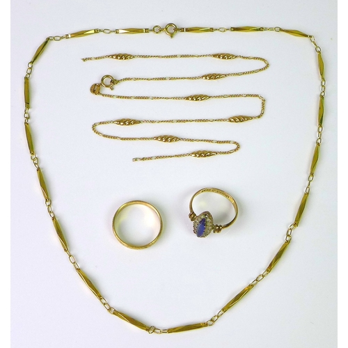 145 - A selection of 9ct gold jewellery, including a 9ct gold ring set with marquis shaped blue stone enci...
