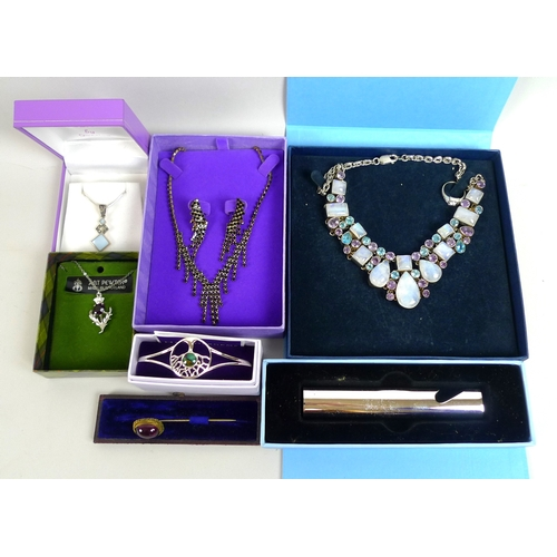 142 - A collection of silver and costume jewellery, including a silver, amethyst, moonstone and topaz neck...