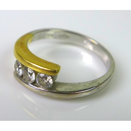 207 - An 18ct gold ring set with three diamonds, approx 0.35ct total diamond weight, size O, 4.7g, togethe...