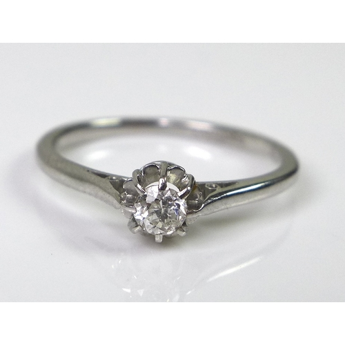 100 - A platinum and solitaire diamond ring, the diamond approx 0.1cts, size L1/2, 2.6g....