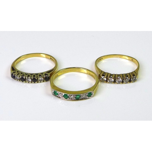 144 - A group of three 9ct gold rings, one set with five diamonds, approx 0.25cts total diamond weight, si...