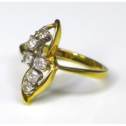 147 - An 18ct gold and diamond ring of seedpod design, composed of six diamonds each of approximately 0.04...