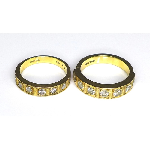 228 - Two 9ct gold and diamond bands, each set with seven diamonds in recessed square settings, the first ...