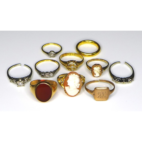 226 - A group of ten gold, yellow and white metal rings, comprising a 22ct yellow gold wedding band, size ...
