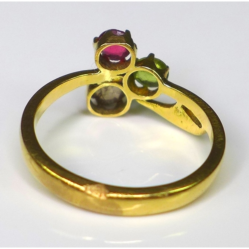 233 - An unmarked gold, diamond, ruby and peridot ring, in Georgian style, size J, 2.7g.