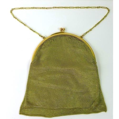 255 - An Art Deco 9ct gold mesh evening bag, London 1924, The Gold Mesh Bag Co Ltd, engraved to inside rim...