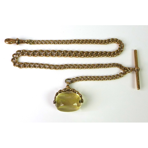 232 - A 9ct gold graduated Albert fob chain, with 9ct gold T bar attached, spring clip and swivel fob, 42c...