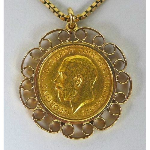 92 - A George V gold half sovereign, 1911, in 9ct gold pendant mount, on 9ct gold chain, 11.8g total....