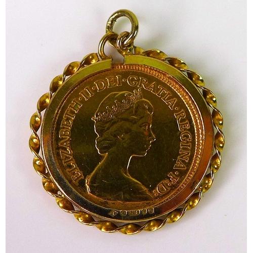 91 - An Elizabeth II gold half sovereign, 1982, in 9ct gold pendant mount, 5.7g total....