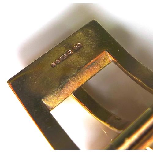 234 - A 9ct gold woven link bracelet, modelled as a belt, 21.5cm long, 31.1g.