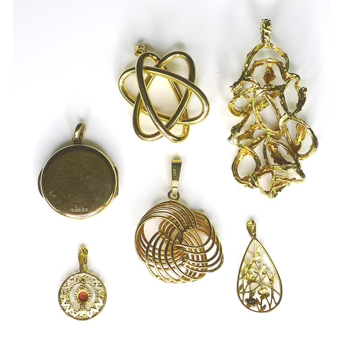 203 - A group of 9ct gold pendants, including one of swirling design set with a pearl, a foliate engraved ...